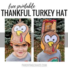 turkey hat free thankful turkey hat printable for kids parenting chaos