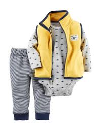 Baby Boy Football Clothes Carters 3 Pc Football Print Bodysuit U0026 Fleece Vest Set Baby 0