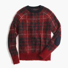 plaid sweater brushed wool blend crewneck sweater in plaid j crew