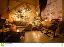 calm image of interior modern home living room decorated christmas