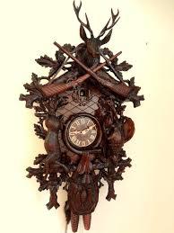 Cuckoo Clock Germany Cuckoo Clock Black Forest 8 Day German Wood Hunter Carved