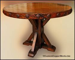 Wood Table Base by Copper Top Dining Table Rustic Wood Base Concha Adornment 1 50
