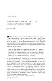 textual games and virtuality in spanish cancionero poetry springer