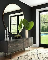 very large round mirror uk example of a trendy bedroom design in