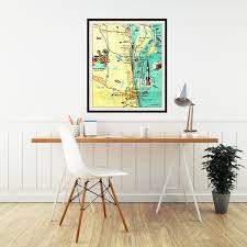 Cocoa Beach Map Cocoa Beach Map Art Print Cape Canaveral Florida Nasa