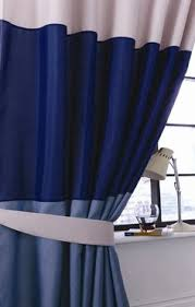 Navy Blue Striped Curtains Cj114 119 Navy Blue Stripe Shiny Taffeta Curtain X 1 Panel