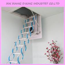 practical hydraulic telescopic folding attic ladders small space