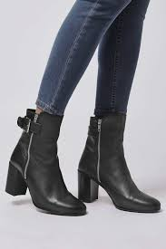 womens boots topshop lyst topshop mega buckle boots in black