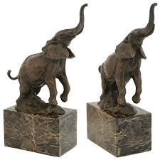 african elephant trumpeting in pose bronze statue for decor as