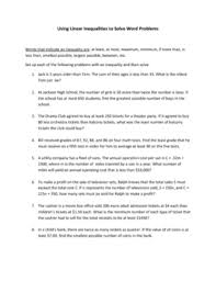 all worksheets linear equations in one variable word problems