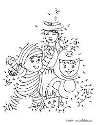 halloween costumes dot to dot game coloring pages hellokids com