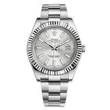 silver rolex bracelet images Rolex datejust ii silver index dial fluted 18k white gold bezel jpg