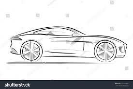 sports car drawing sports car sleek wide radius wheels stock vector 310100432