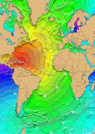 Empty World Map Atlantic Ocean Tsunami Threat From Earthquakes Landslides