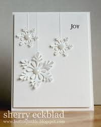 button junkie lovely snowflake card cards