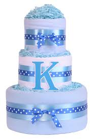 3 tier trendy initial boys nappy cake baby blue baby shower gift