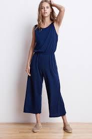 blue velvet jumpsuit aubriella cotton slub sleeveless jumpsuit