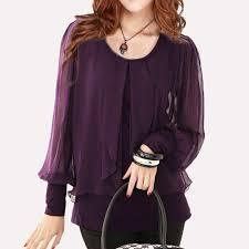 purple blouses 2018 black shirt blusas plus size tops purple chiffon shirt
