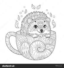 hedgehog in cup antistress coloring page with animal in