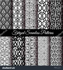 set luxury forged seamless patterns stock vector 410934859