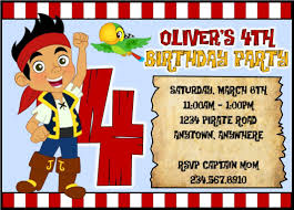 jake and the neverland pirates invitation personalized