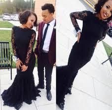 wholesale african long sleeve black lace mermaid prom dresses