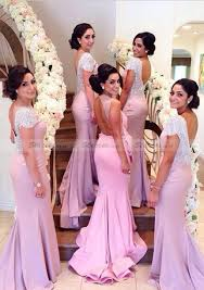 pink bridesmaid dresses mermaid bateau court jersey bridesmaid dresses with beaded