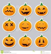 halloween face stickers sticker halloween orange pumpkin head with face stock vector