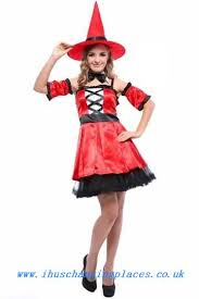 Red Witch Halloween Costume Beautiful Colour Fashion Costumes White Midriff Baring