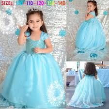 Snowflake Halloween Costume Baby Frozen Children Kids Anna Elsa Blue Princess Birthday