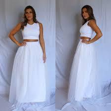 simple wedding dress tulle wedding dress two piece wedding