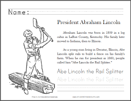 abe lincoln the rail splitter primary worksheet student handouts