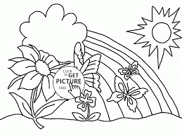 happy and spring flowers coloring page for kids seasons