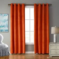 2017 solid blackout bright orange color curtain with ring for