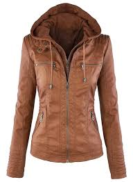 ladies leather motorcycle jacket women u0027s faux leather jacket with detachable hood azbro com