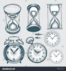 set doodle sketch watches alarm clocks sand stock vector 691586602