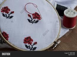 embroidery cross stitch flower image photo bigstock