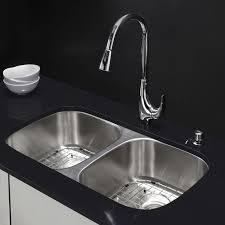 kraus undermount stainless sink kraus kbu22 stainless steel 32 1 4 double basin 16 gauge stainless