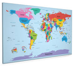 Hawaii On World Map World Map With Big Text For Kids Box Canvas And Poster Print 901