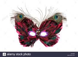 ornate venetian eye mask with peacock feathers stock photo
