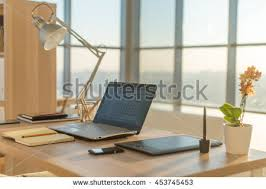 Interior Design Notebook by Front View Picture Studio Workplace Blank Stock Photo 561817702
