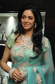 sridevi in aqua color saree sari blouse indian shaadi