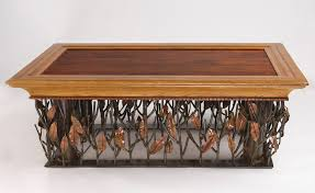 hand crafted mesquite steel and copper coffee table by randy