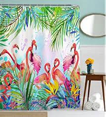Flamingo Shower Curtains Amazon Com Flamingo Shower Curtain Home U0026 Kitchen