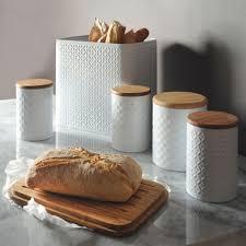 boite de cuisine huche à boîte en métal peint en blanc et couvercle en bambou