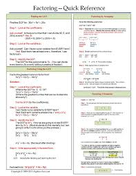 one page notes worksheet for factoring unit algebra cheat sheets