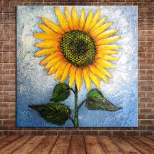 Modern Sunflower Hand Painted Oil Pianting Canvas Wall
