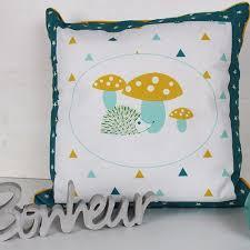 coussin chambre bébé housse de coussin chambre bébé 40 x 40 cm jaune et bleu motif