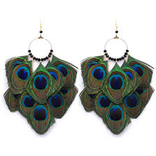 peacock feather earrings fashion peacock feather earrings ethnic style eardrop dangle