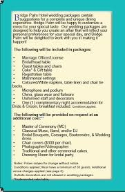 Wedding Packages Prices Bridge Palm Hotel Wedding Packages